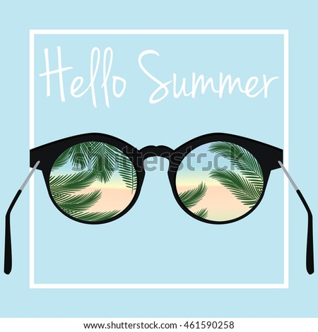 Hello Summer Vector. Sunglasses With Palm Tree Leaves Background.