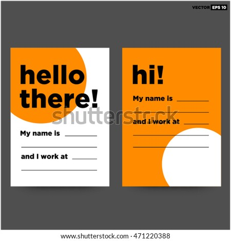 Hello there my name business card stock vector 2018 471220388 hello there my name is business card art vector illustration in flat style design colourmoves