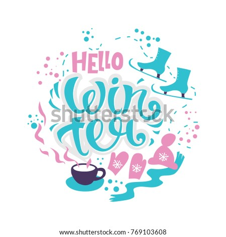 Charmant Hello Winter Lettering Design. Merry Christmas And Holiday Season Lettering  Hand Drawn For Greeting Postcard