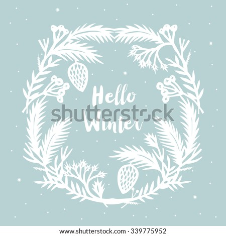 Hello Winter. Print Design - stock vector