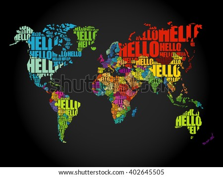 Hello word cloud world map typography stock vector 402645505 hello word cloud world map typography stock vector 402645505 shutterstock gumiabroncs Choice Image