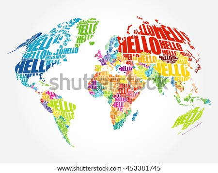 Hello word cloud world map typography stock vector 453381745 hello word cloud world map typography stock vector 453381745 shutterstock gumiabroncs Choice Image