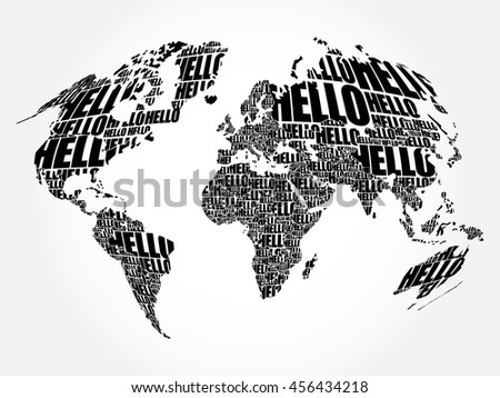 Hello word cloud world map typography stock vector 456434218 hello word cloud world map in typography background concept gumiabroncs Image collections