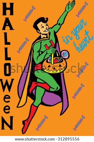 Helloween Super Hero - stock vector
