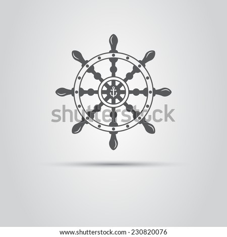 helm captain isolated icon - stock vector