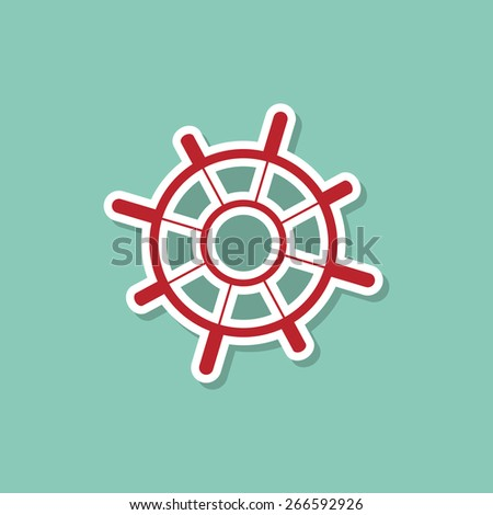 Helm marine ship on a blue background. Modern style flat. Vector - stock vector