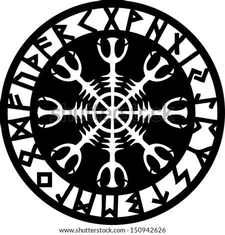 Helm of awe, Aegishjalmur, Runic Amulet - stock vector