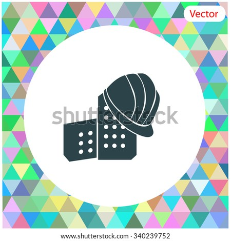 Helmet and Bricks vector icon. - stock vector