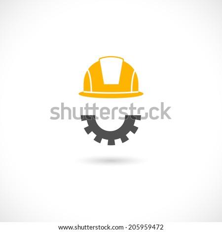 Helmet in orange color of engineer and beard in cog wheel style vector illustration - stock vector