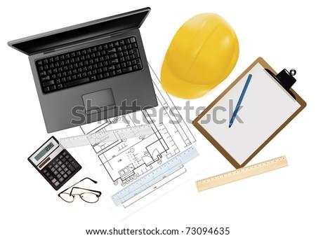 Helmet on the table. Vector illustration. - stock vector