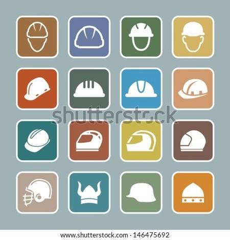 Helmet pictograms - stock vector