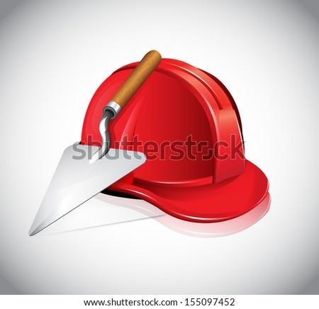 Helmet Trowel Icon - stock vector