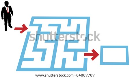 Help a business person find a way through a maze problem to a solution - stock vector