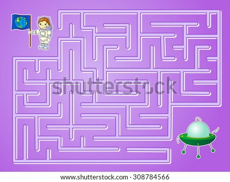 Help astronaut to find way to the flying saucer and find spaceship in a maze. Educational game for children. Vector illustration - stock vector