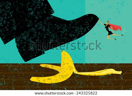Help Avoiding Mistakes A miniature, super businesswoman saves someone from slipping on a banana peel. The shoe, woman, and banana peel are on a separately labeled layer from the background. - stock vector