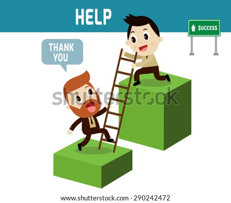 help . Businessman help partner go to on graph ,modern design flat character isolated on white background.business stock concept. - stock vector