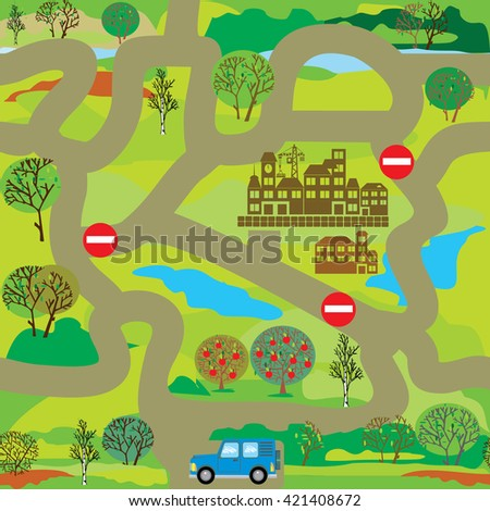 Help car to find way to city. Educational game maze for children or seamless pattern for design