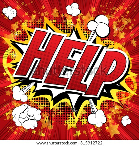 Help - Comic book style word on comic book abstract background. - stock vector
