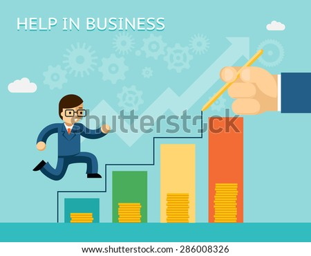 Help in business concept. Partnerships and mentoring. Mentor and success, advice, and partner, vector illustration - stock vector