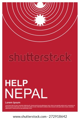 Help Nepal Charity advertisement. earth quake location highlighted. Help Nepal. typography cover page. - stock vector