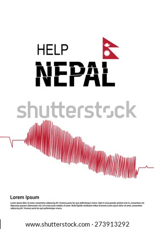 Help Nepal Creative Flag typography with Ecg Nepal Map in Cover Page template. Pray for Nepal earthquake poster template red and white background and nepal flag. Earthquake Crisis Concept Vector - stock vector
