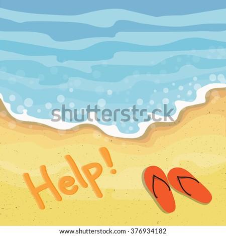Help Sign on the beach.Vector illustration. - stock vector