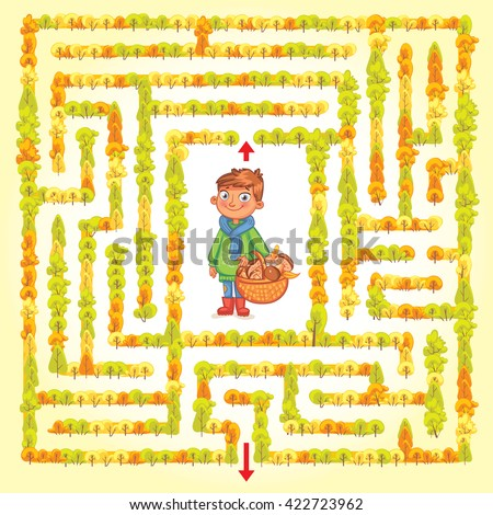 Help the boy find a way out of the woods. Maze Game with Solution. Funny cartoon character. Tangled lines. Vector illustration - stock vector