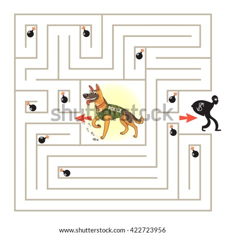 Help the dog to find the right way and catch the criminal. Maze Game with Solution. Tangled lines. Funny cartoon character. Vector illustration. Isolated on white background - stock vector
