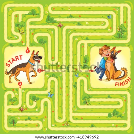 Help the dog to find the right way and hug the owner. Maze Game with Solution. Tangled lines. Funny cartoon character. Vector illustration - stock vector