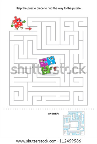 Help the puzzle piece to find the way to the puzzle, maze game for kids, answer included ( for high res JPEG or TIFF see image 112459589 )  - stock vector