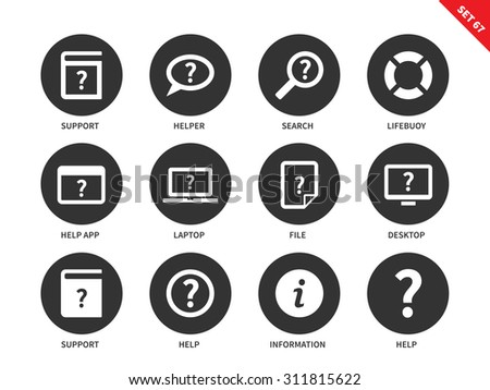 Help vector icons set. Support and security concept. Icons for technology devices, help, support, search, information, file, lifebuoy, laptop, app. Isolated on white background - stock vector