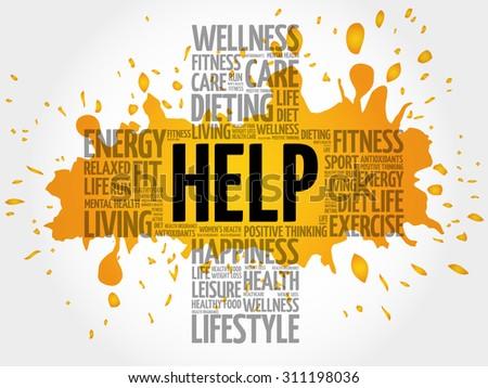 HELP word cloud, health cross concept - stock vector