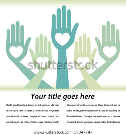 Helpful hands design with text space. - stock vector