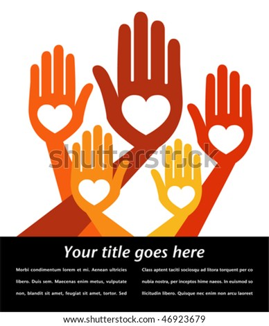 Helpful hands with copy space vector. - stock vector