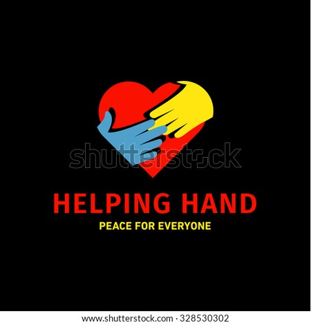 Helping Hand adult and children logo icon charity help flats - stock vector
