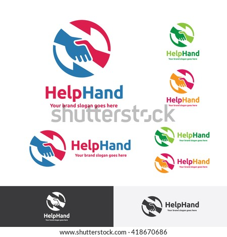 Helping Hand Logo, Hand Shake Brand Identity - stock vector