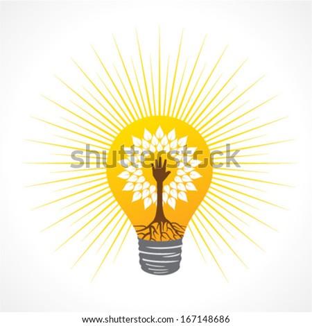 Helping hand make tree inside the bulb - vector illustration - stock vector