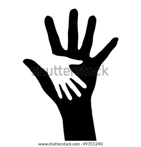 Helping hands. Abstract illustration for design. - stock vector