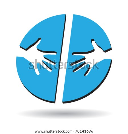 Helping hands blue icon with space for text - stock vector
