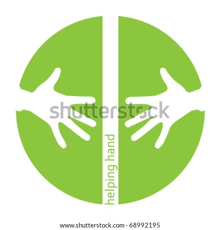 Helping hands green icon with space for text - stock vector