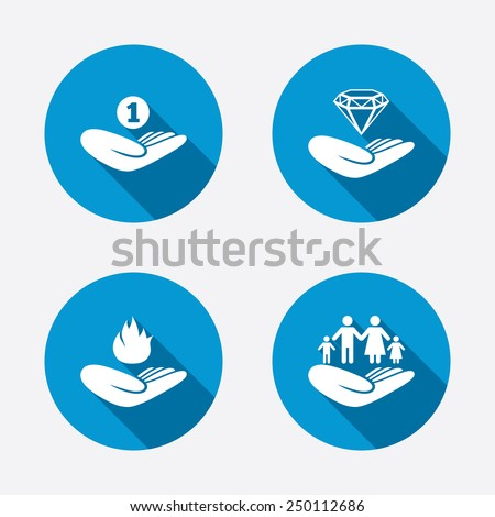 Helping hands icons. Financial money savings, family life insurance symbols. Diamond brilliant sign. Fire protection. Circle concept web buttons. Vector - stock vector