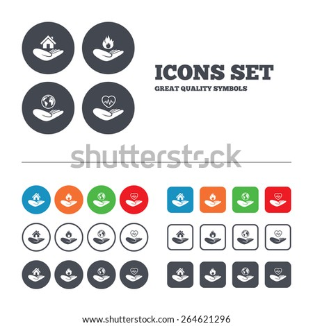 Helping hands icons. Health and travel trip insurance symbols. Home house or real estate sign. Fire protection. Web buttons set. Circles and squares templates. Vector - stock vector