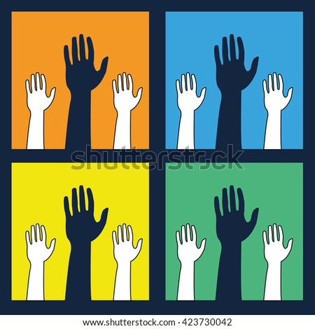 Helping hands ,icons in black and white on colorful backdrop