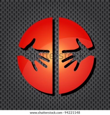 Helping hands red icon - stock vector