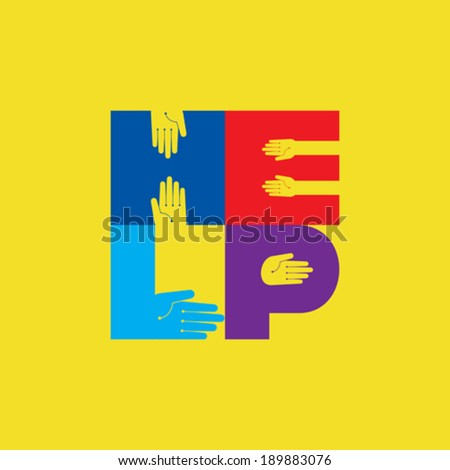 helping hands, vector illustration - stock vector
