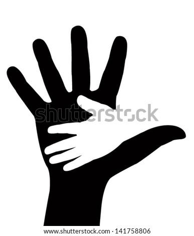 Helping hands. Vector illustration on black background - stock vector