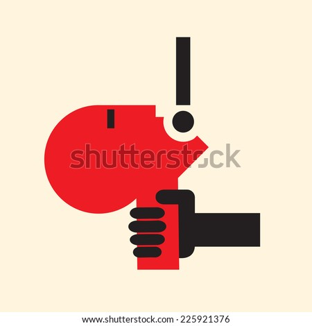 helpless victim crying for help - stock vector
