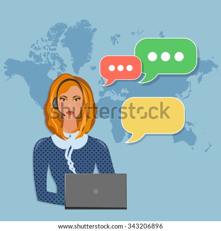 Helpline operator with headphones in call center speech bubble concept vector - stock vector