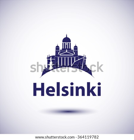 Helsinki Finland. City skyline silhouette. Vector illustration. Icon for travel agency.