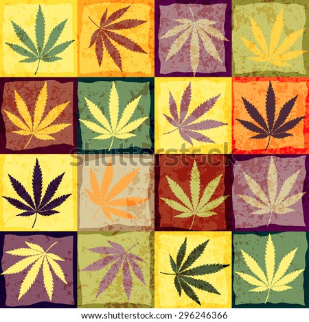 Hemp leaves in retro style. Seamless background pattern. - stock vector
